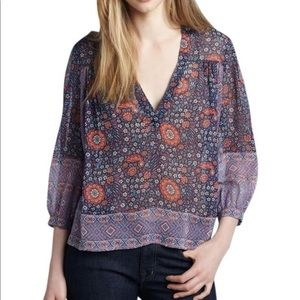Joie silk bell sleeves blouse top